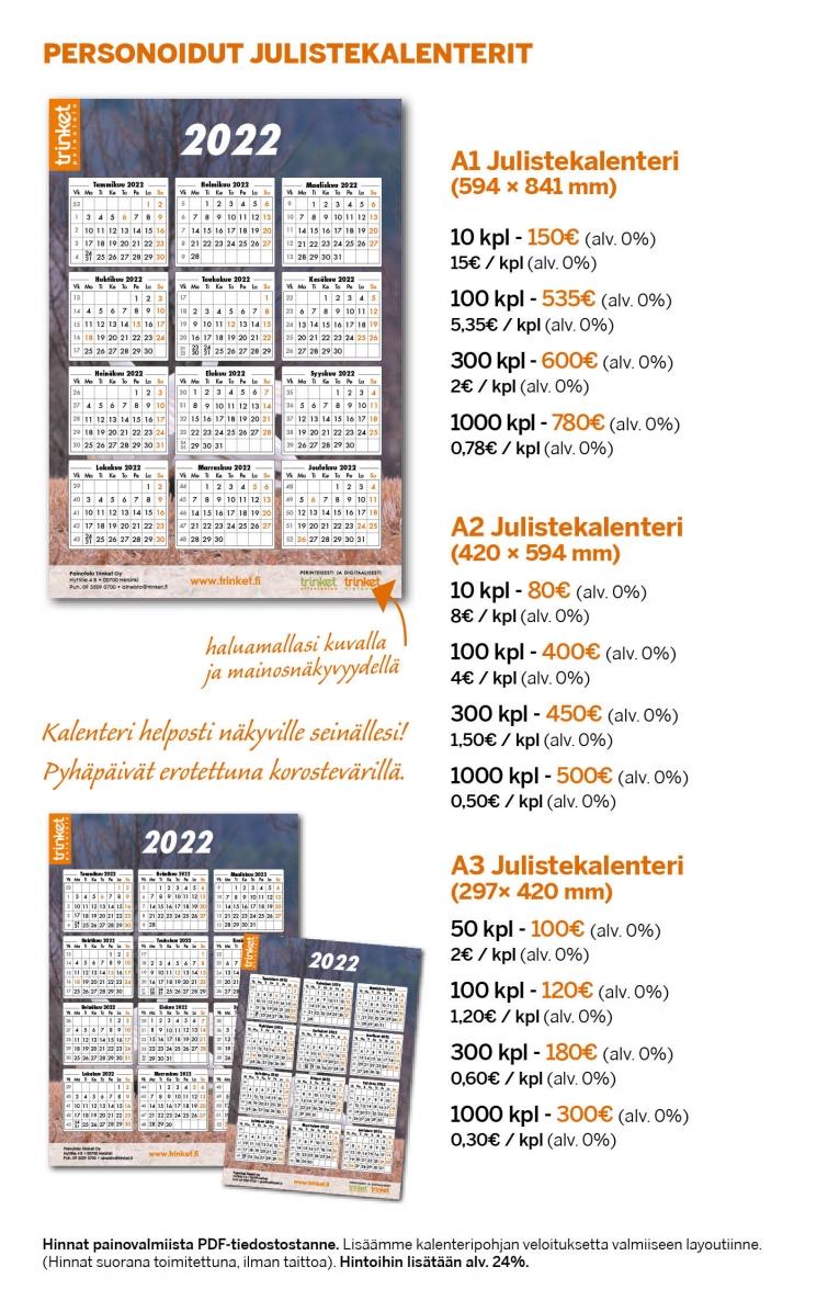 Seinäkalenterit, Kalenterit, Julistekalenterit
